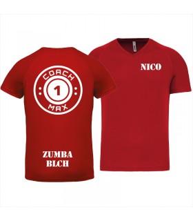 Heren-sport-t-shirt V-hals coach1max rood Zumba