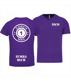 Heren-sport-t-shirt V-hals coach1max violet Zumba