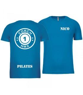 T-shirt man coach1max aquablue Pilates