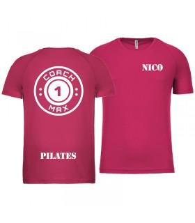 T-shirt man coach1max fushia Pilates