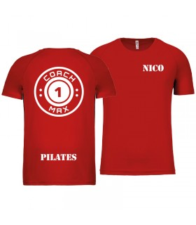 T-shirt col rond homme coach1max rouge Pilates