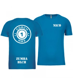 T-shirt col rond homme coach1max aquablue Zumba
