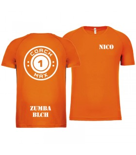 T-shirt col rond homme coach1max orange Zumba