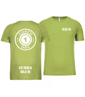T-shirt col rond homme coach1max lime Zumba