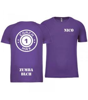 T-shirt man coach1max violet Zumba