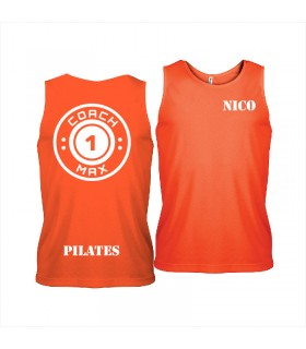 Men's sports vest coach1max orange Pilates