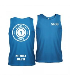 Men's sports vest coach1max aquablue Zumba