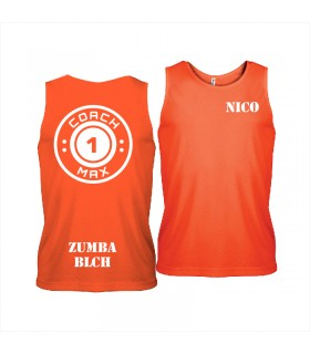 Débardeur sport homme coach1max orange Zumba