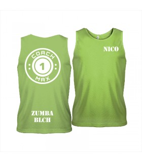 Men's sports vest coach1max lime Zumba