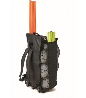 Backpack with rollers for balls and material