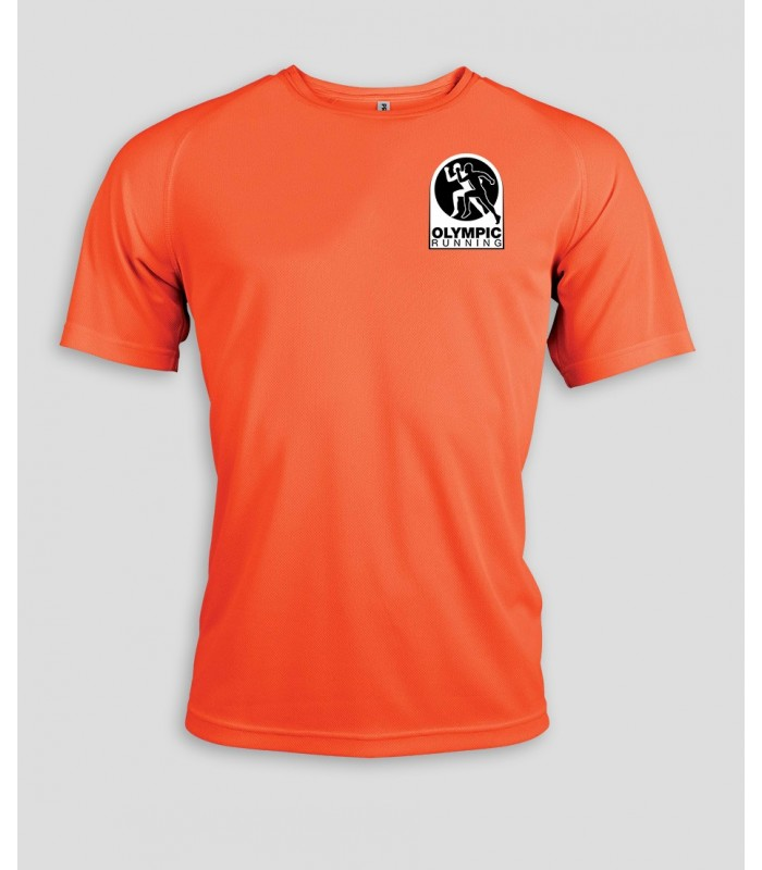11fb7362143 Running T-Shirt Homme + Logo ou Nom - PABE438-OrangeFluo